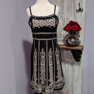 INC black embroidered sleeveless dress
